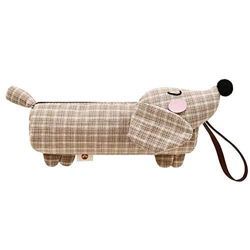 WCHOG Dachshund Hond Potlood Case Grote Capaciteit Stationery Stationery Tas Eenvoudige Handtas, 19.5 * 5.5cm, rood Grijs
