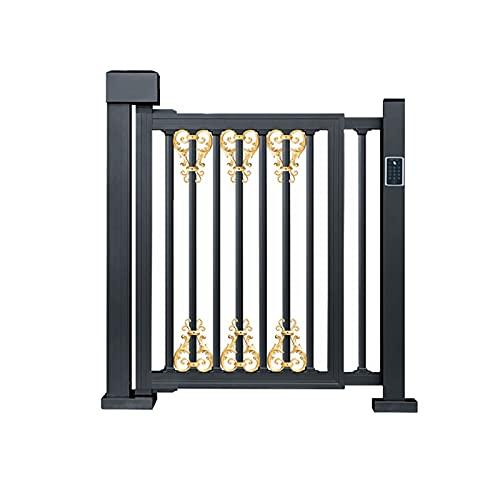 HXXXIN Aleación De Aluminio Puerta De Cerca Eléctrica Puerta Batiente Eléctrica Sistema De Control De Acceso Inteligente Villa Patio Puerta Abatible Artística De Aluminio,Pattern Style Railing Door