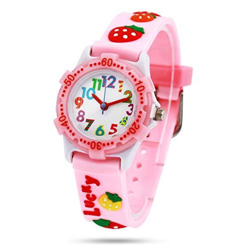 El Reloj de Niños de Vinmori, Reloj de Cuarzo con Dibujos Animados Bonitos de 3D a Prueba de Agua Regalo para Chicos Niños y Niñas Fresa-Rosa