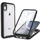 CENHUFO Funda iPhone XR Antigolpes iPhone XR Carcasa con Protector de Pantalla Incorporada Anti-rayones [Anti-Amarilleo] 360 Grados Protección Case Bumper Transparente Funda para iPhone XR -Negro