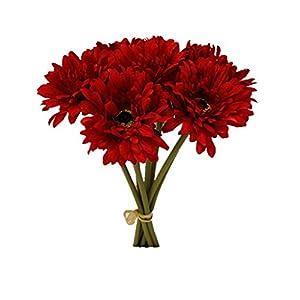 Silk Flower Arrangements Sweet Home Deco 13'' Silk Artificial Gerbera Daisy Flower Bunch (W/ 7stems, 7 Flower Heads) Home/Wedding (Red)