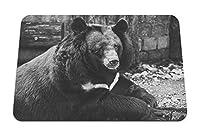26cmx21cm マウスパッド (クマ黒悲しみ見てbw) パターンカスタムの マウスパッド