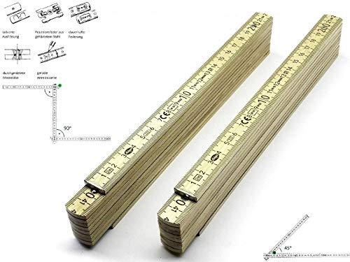 2 Stk. Adga 250 plus Qualitäts Meterstab natur 2m Holz Winkelübersicht 90 180 Grad Rastung gerade Anreißkante