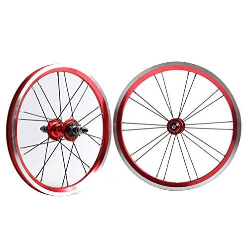 TYXTYX BMX 406 Cerchio da 20 Pollici Set di Ruote per Bici Freno su cerchione Ruota Anteriore e Posteriore per Bicicletta Pieghevole con mozzo con Cuscinetto sigillato per pignone 9T 1210g