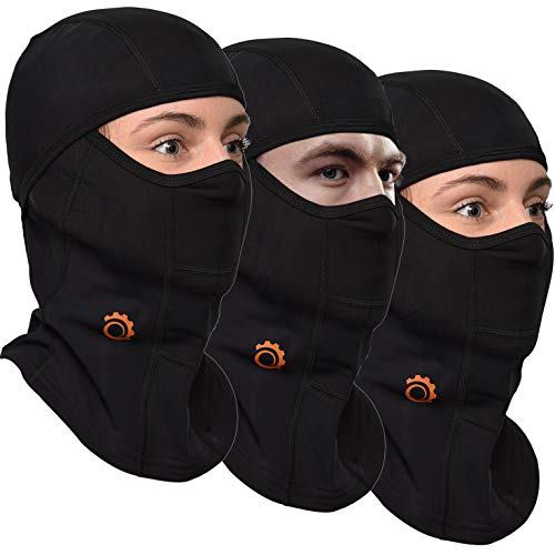 GearTOP Balaclava Best Full Face Mask | Premium Ski Mask - Neck Warmer for Motorcycle and Cycling, Black (Black-3 Pack)
