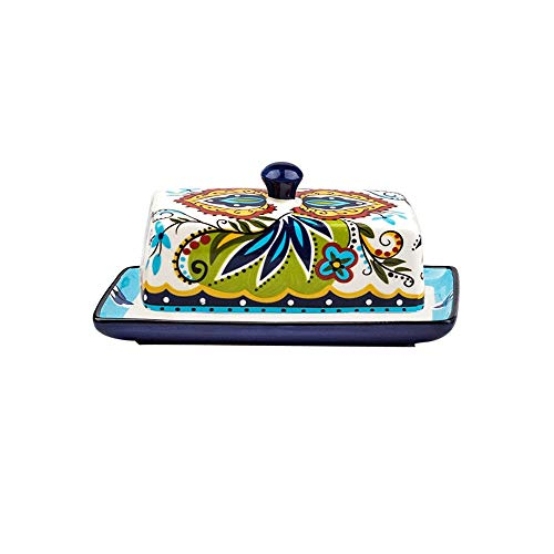 Z-Color Vintage Style Ceramic Butter Dish with Lid,Traditional Butter Pot, Covered Butter Dish with Handle, Elegant Serving European Tableware