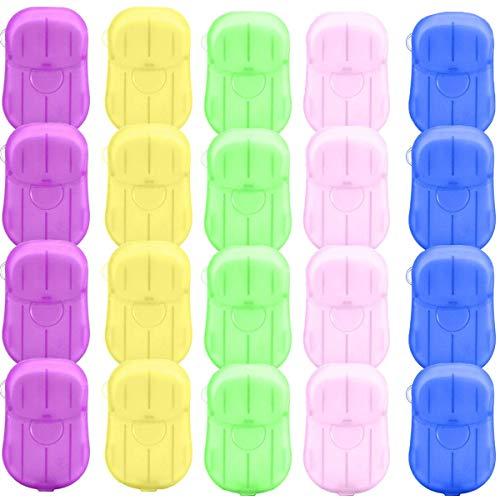 Fiyuer Tabletas de jabón 20 Cajas Papel de jabón portátiles antivirus antibacteriana con Caja de Almacenamiento para Senderismo Viajes Camping Actividades al Aire Libre