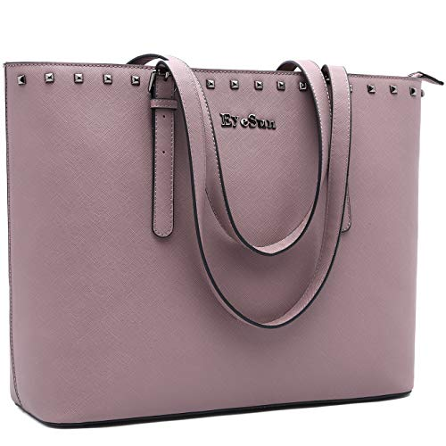 Laptop Bag for Women,15.6 Inch Laptop Tote Bag Office Briefcase with Adjustable Strap and Rivets by EyeSun