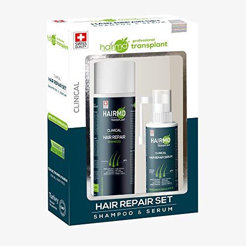 HairMD-Transplant Clinical Hair Repair Set-Prevent Hair Loss & Promote New Hair Growth-Biotin,Keratin,Provitamin B5 & More!-For All Hair Types-Shampoo 250 ml & Serum 60 ml