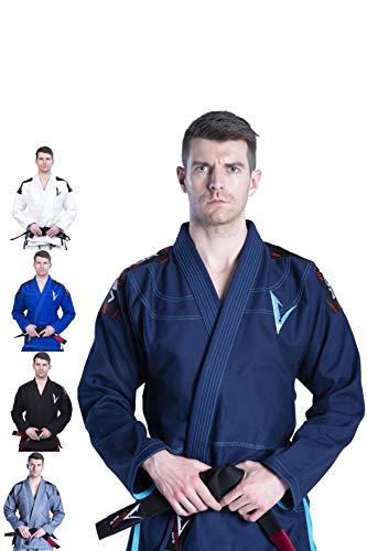 BJJ Gi Jiu Jitsu Gi brasileño para hombres y mujeres con uniforme Kimonos ultraligeros y duraderos, pantalones y chaquetas preencogidos tejido de perlas 100% algodón serie Attila - A0, Marino