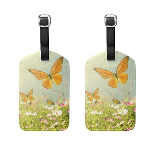 Chic Houses Hermosa mariposa de cuero etiquetas de equipaje natural fresco sol maleta equipaje etiqueta de viaje bolsa de identificación etiqueta para maleta 2031537