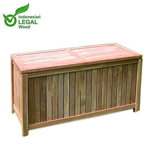 Mojawo Teakbox Teak Kissenbox Auflagenbox Gartenbox aus Teakholz geschlossene Lattung 125 x 55 x 65 cm