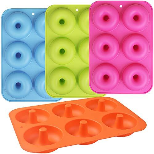 Newk Molde de silicona para donuts, 6 cavidades antiadherentes de silicona para rosquillas, rosquillas, juego de 4, azul + verde claro + rosa rojo + naranja