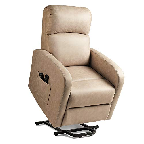 DEVAISE Power Lift Massage Recliner Chair, OKIN Motor Electric Lift Chairs for Elderly with Massage, Soft Suede Reclining Sofa with Remote and Side Pocket, Light Almond
