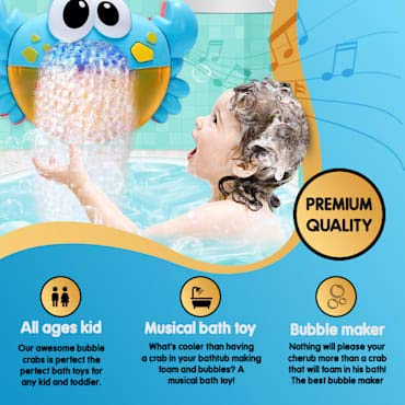 J&K Bubble Bath Toy, kids automatic fun blower crab machine with music for children bath and shower time