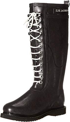Ilse Jacobsen Damen Gummistiefel | Schuhe aus 100% Natur Bio Gummi | garantiert PVC frei | Lange Stiefel mit Schnürsenkel aus 100% Baumwolle | RUB1 Schwarz 35 EU
