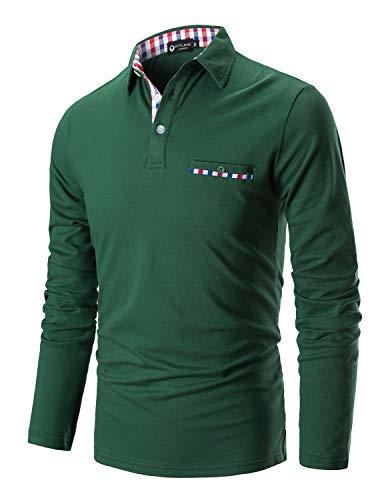 STTLZMC Casual Polo Hombre Mangas Largas Camisetas Deporte Algodón Clásico Plaid Cuello (3XL, Verde)
