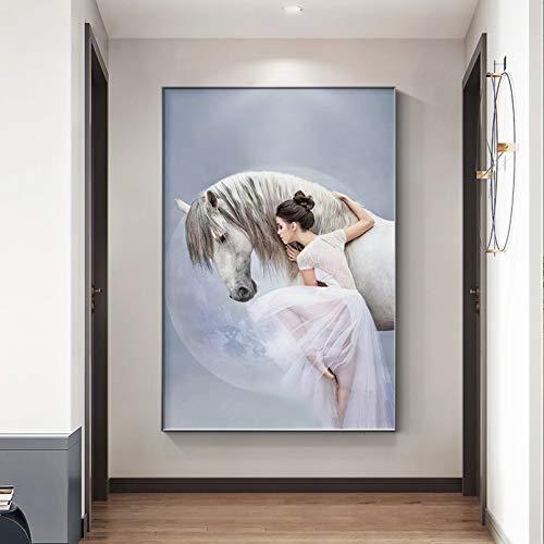 Cartel Decorativo Impresión Pintura De La Lona Pintura De Bailarina De Ballet De Belleza, Pintura De Caballo, Decoración De Sala De Estar, Lienzo Moderno, Cuadros Artísticos De Pared 60 Cm X 8