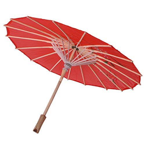 NEYOANN Sombrilla oriental china de bambú de tela roja de impresión de flores de 21 pulgadas de diámetro
