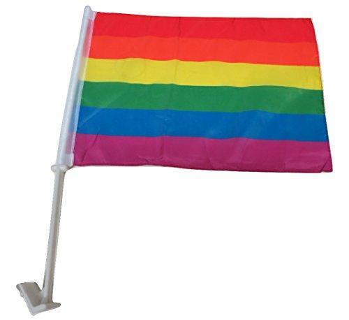 TrendyLuz Flags Rainbow Pride 12' x 18' Car Window Flag Gay Lesbian LGBT Equality