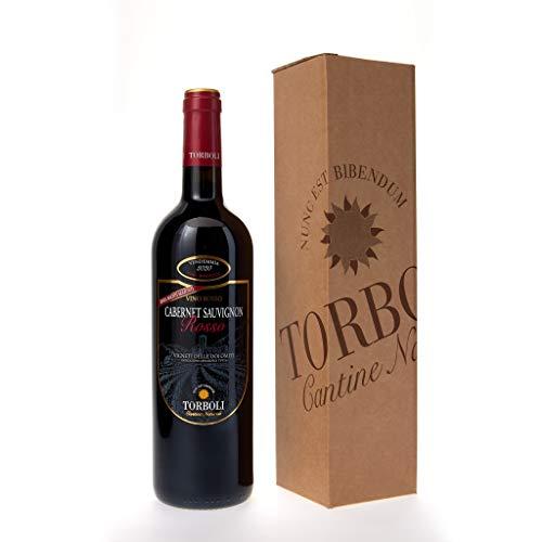 Bottiglia 0,75 lt. Vino Cabernet Sauvigon Rosso Biologico e Senza Solfiti - Torboli - Annata 2020 - BIO - Con scatola