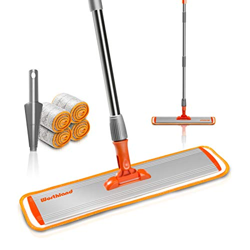 """Worthland 17"""" Microfiber Flat Mop for Floor Cleaning, Stainless Steel Handle with Aluminium Plate, 4 Reusable Microfiber Pads for Hardwood, Laminate, Tile Cleaning"""