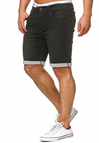 Indicode Herren Lonar Jeans Shorts mit 5 Taschen aus 98% Baumwolle | Kurze Denim Stretch Sommer Hose Used Look Washed Destroyed Regular Fit Men Short Pants Freizeithose f. Männer Black L