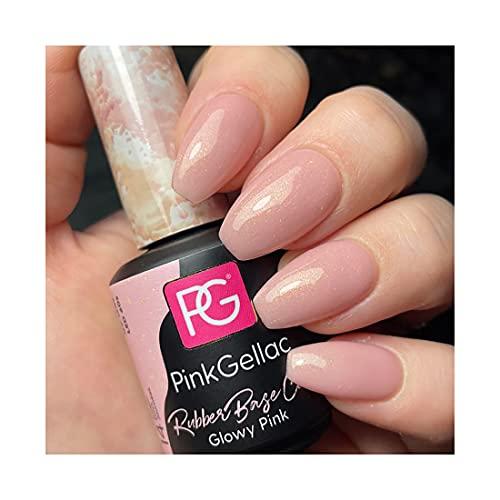 Pink Gellac Rubber Base Cover Glowy Pink Gel Esmalte de uñas 15 ml para lámpara UV LED   Brillo Shellac Gel Nail Polish for UV Nail Lamp   Laca de uñas LED