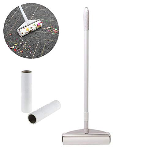 RANRANHOME Lint Roller, Retractable Floor Cleaning for Pet Hair, Long Handle Sticky Mop, with Extendable Handle & Washable Lint Roller, 90 Sheets Roller,Best for Lint, Clothes, Car Seats