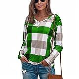 LYAZFC Camiseta de Manga Larga de algodón y Lino con Estampado de Cuadros cómodos de otoño para Mujer