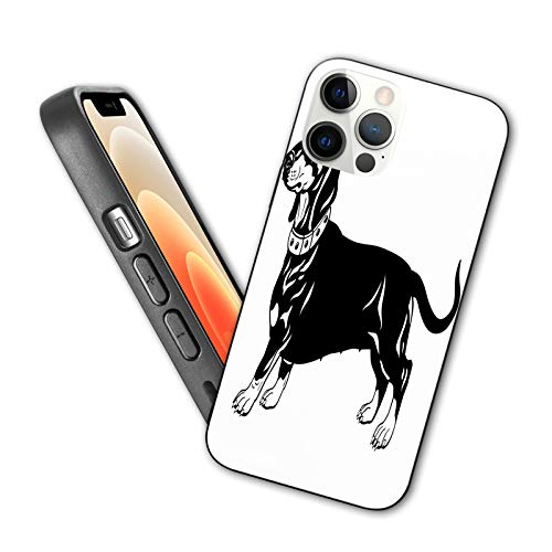 Compatible con iPhone 12 Series 2020 Ilustración de perro simplista con monocromo estilizado lindo torso largo raza para iPhone 12 Pro 6.1 pulgadas
