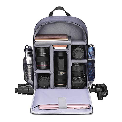 CADeN Camera Backpack Bag with Laptop Compartment 15.6' for DSLR/SLR Mirrorless Camera Waterproof, Camera Case Compatible for Sony Canon Nikon Camera and Lens Tripod Accessories Blue