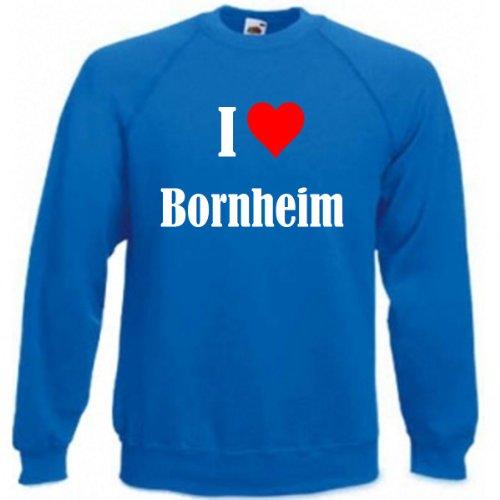 Reifen-Markt Sweatshirt Damen I Love Bornheim Größe S Farbe Blau Druck Weiss