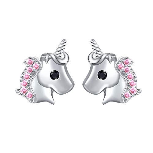 Flyow Boucles doreilles en argent sterling 925, Clous doreilles licorne bijoux pour femme et fille (Rose)