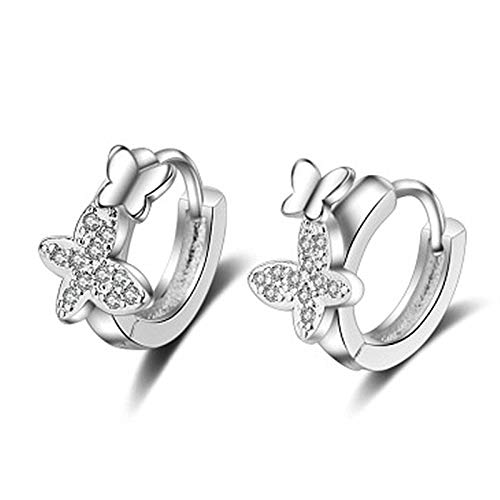 Kacoco Women's Creole Earrings 925 Sterling Silver Small Cubic Zirconia Children's Earrings Butterfly Temperament Elegant Style for Party Jewellery