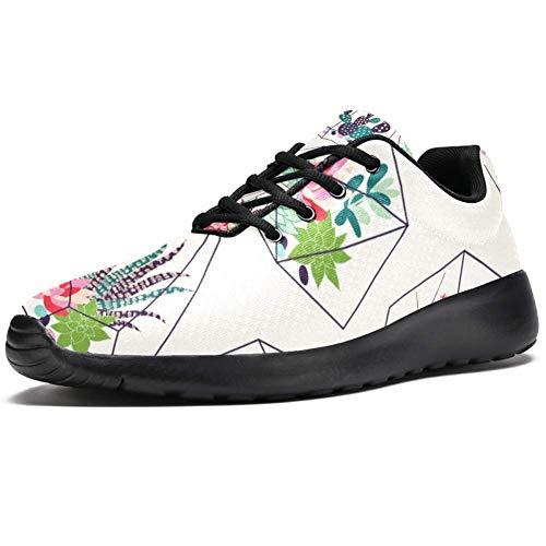 TIZORAX Laufschuhe für Herren, Kakteen in Glas-Terrarien, modische Sneakers, Mesh, atmungsaktiv, Wandern, Tennisschuh, Mehrfarbig - mehrfarbig - Größe: 41 1/3 EU