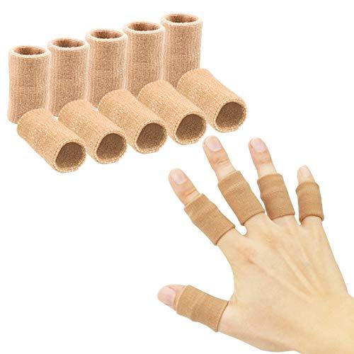 Finger Sleeves , Thumb Splint Brace For Finger Support, Breathable Elastic Finger tape, Compression pression Protector For Reliving Pain, Triggger Finger, Compression Aid For Sports, 10PCS (Beige)