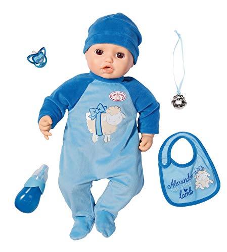 Zapf Creation 701898 Baby Annabell pop Alexander met levensechte functies en accessoires 43 cm, blauw