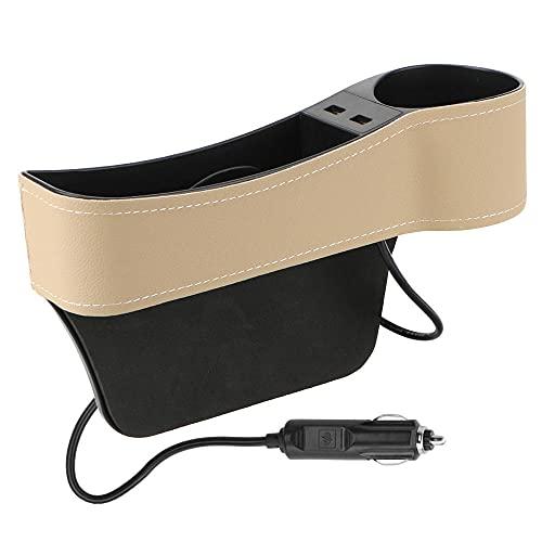 Organizador de coche Cargador USB dual Asiento Caja de hendidura Botella de teléfono Caja de soporte de vasos Accesorios de coche Caja de almacenamiento de espacio de coche de cuero-Beige_right