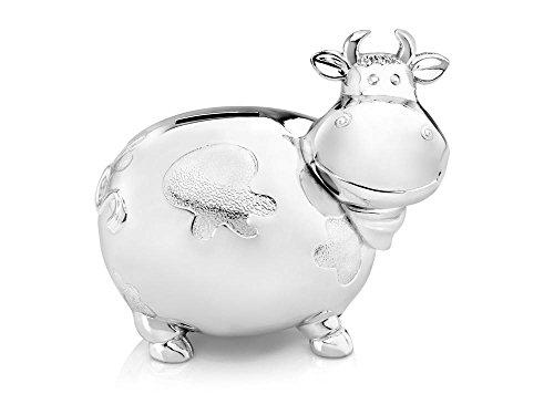 Spardose Kuh groß versilbert anlaufgeschützt 14x10x12,5cm
