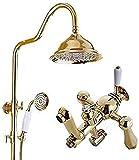 Baño grifo de la ducha de cobre europeo retro ducha puede ser levantado y bajado ducha de baño supercargado Top Spray Set oro hermoso práctico sistema de ducha