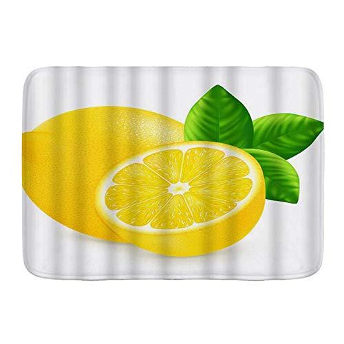 BCVHGD Alfombrillas para baño, Hojas de Limón Producto Natural Mercado de Agricultores Alimento Fruta Fragante Vitamina Fresca,con Respaldo Antideslizante,29.5'X17.5'