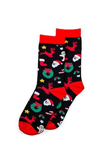 Calcetines navideños para mujer, diseño navideño,  Cortador de galletas, color negro, Talla única