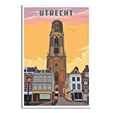 Utrecht Poster, Niederlande Vintage Reise Poster