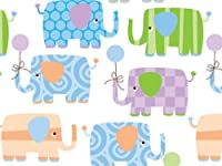 BABY ELEPHANTS ギフトラップ 24インチx417インチ ギフトラップ ハーフリームロール (1個入り)