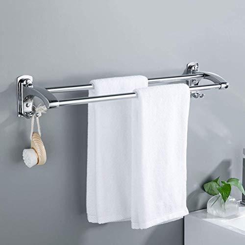 zyl Toallero de Acero Inoxidable de Doble Capa con Gancho Fijo toallero montado en la Pared de baño Soportes de Toalla Gruesos de una Pieza 70CM
