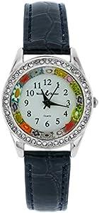 GlassOfVenice Reloj de cristal de Murano Millefiori y cristales con correa de piel, color azul