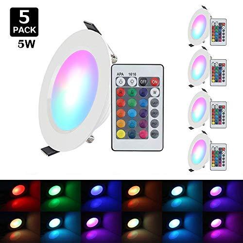 Faretto da incasso a LED XJLED, rotondo, 12 W, dimmerabile, 5 pezzi, 5-Stück 5W RGBW