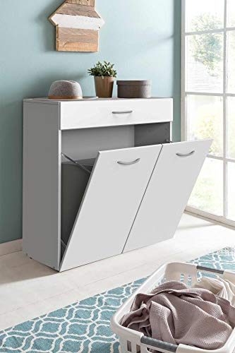 lifestyle4living Kommode in weiß mit praktischem Stauraum, Anrichte mit 1 Schublade, 2 Klapptüren und 2 Wäscheboxen, Moderne Mehrzweckkommode 80 cm breit, Wäschekorb