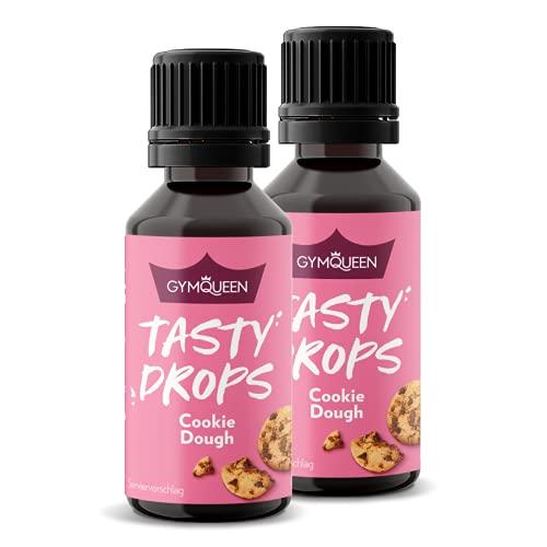 Flavour Drops GymQueen Tasty Drops 2x30ml, kalorienfreie, zuckerfreie und fettfreie Flavdrops, Aroma Tropfen zum Süßen von Lebensmitteln, Geschmackstropfen ohne Künstliche Farbstoffe, Cookie Dough
